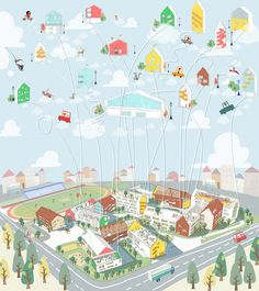 Architectural Drawing Design LYCS Architecture Design School Inspired by A Child's Drawing,Courtesy of LYCS Architecture - Image 7 of 11 from gallery of LYCS Architecture Design School Inspired by A Child's Drawing. Photograph by LYCS Architecture Architecture Panel, Architecture Graphics, Architecture Visualization, Architecture Drawings, Architecture Portfolio, Architecture Design, Axonometric Drawing, Urban Design Diagram, City Drawing