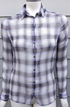 Urban Outfitters BDG Medium Purple Plaid Sheer Button Down Shirt Womens Blouse #UrbanOutfitters #ButtonDownShirt