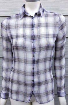 Urban Outfitters BDG Medium Purple Plaid Sheer Button Down Shirt Womens Blouse #UrbanOutfitters #ButtonDownShirt