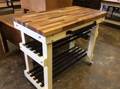 Kitchen island butchers block handmade to order this one has a solid walnut long grain top and 2 x steel shelves  see https://www.etsy.com/your/shops/me/dashboard?ref=seller-platform-mcnav