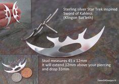 Star Trek inspired sterling silver Bat'leth stud earrings, Klingon Sword of Kahless by DawnGillDesigns on Etsy Bespoke Jewellery, Silver Stars, Etsy Earrings, Star Trek, Sword, My Etsy Shop, Sterling Silver, Inspired, Inspiration