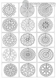 Mandala Au Crochet, Crochet Diy, Crochet Motifs, Crochet Diagram, Crochet Squares, Crochet Chart, Crochet Doilies, Crochet Flowers, Crochet Stitches
