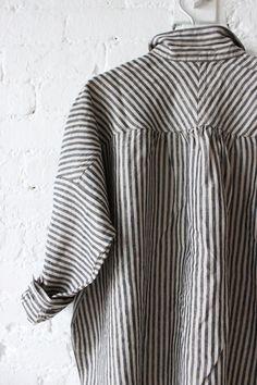Ichi Antiquites Gather Linen Shirt Stripes
