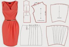 Moda e Dicas de Costura - Nice elegant sheath dress Sewing Patterns Free, Clothing Patterns, Dress Patterns, Fashion Sewing, Diy Fashion, Ideias Fashion, Diy Clothing, Sewing Clothes, Costura Fashion