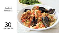 Seafood Arrabbiata Recipe | MyRecipes Calamari Recipes, Seafood Pasta Recipes, Seafood Dishes, Healthy Chicken Recipes, Fish Recipes, Healthy Dinner Recipes, Great Recipes, Drink Recipes, Favorite Recipes