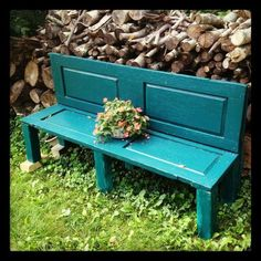 Repurpose old doors into bench!