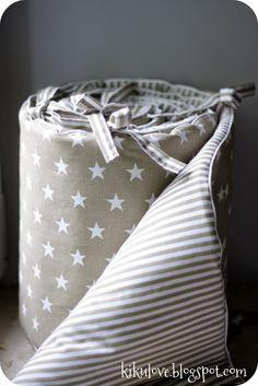 starry beige crib bumper