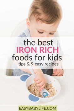 The best iron-rich foods for kids, yummy iron-rich recipes, why they need iron, how much iron babies and children need, and smart tips for optimal iron intake. #baby #toddler #babyfoodrecipes feeding toddler, baby food, feeding baby, #babyhealth, #toddlerhealth #toddlermeals Healthy Toddler Meals, Healthy Kids, Kids Meals, Easy Meals, Toddler Food, Feeding Baby Solids, Baby Feeding, Vitamin Rich Foods, Baby Food By Age