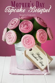 Mothers Day Ideas: DIY Cupcake Bouquet. Give your Mom these pretty cupcakes in a potted bouquet for her special day. A complete video tutorial gives tips. http://stagetecture.com/mothers-day-gift-idea-diy-cupcake-bouquet/ #dessert #cupcakes #baking #mothersday