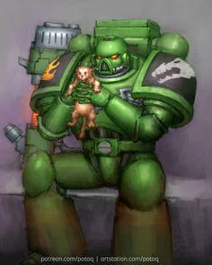 cat creature devastator imperium potoq salamanders space_marines Warhammer 40k Salamanders, Salamanders Space Marines, Warhammer 40k Memes, Warhammer Art, Warhammer 40000, Space Soldier, Tau Empire, Cool Art, Sci Fi