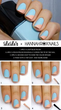 Looking for cool nail art ideas and nail designs you can do at home? Nail polish painting tutorials and at home manicure tips for easy, pretty DIY nails. Trendy Nail Art, Easy Nail Art, Nail Art Diy, Cool Nail Art, Diy Nails, Nail Nail, Top Nail, Cool Nail Ideas, Trendy Hair