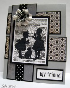 handmade card from Sending Hugs: Text Color Trends Challenge ... sweet silhouette stamped on book print paper ... grey, black & white ... lots of layers ... delightful!!