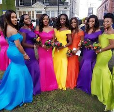 Off the Shoulder Mermaid Bridesmaid Dresses for Wedding Party - Mode von Kopf bis Fuß - Wedding Rainbow Bridesmaid Dresses, Western Bridesmaid Dresses, Rainbow Wedding Dress, Bridesmaid Robes, Wedding Bridesmaids, Wedding Attire, Wedding Gowns, Glow Stick Wedding, Formal Evening Dresses