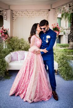 Looking for Light pink engagement lehenga with sequins? Browse of latest bridal photos, lehenga & jewelry designs, decor ideas, etc. on WedMeGood Gallery. Engagement Couple Dress, Indian Engagement Outfit, Indian Engagement Photos, Engagement Gowns, Couple Wedding Dress, Groom Wedding Dress, Groom Dress, Indian Reception Outfit, Indian Wedding Outfits
