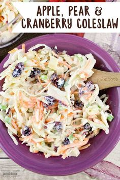 Apple Pear and Cranberry Coleslaw is crunchy, sweet and tangy, the perfect side dish for fall potlucks and so many other occasions. Potluck Dishes, Potluck Recipes, Side Dish Recipes, Fall Recipes, Food Dishes, Cooking Recipes, Healthy Recipes, Xmas Recipes, Chef Recipes