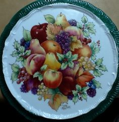 Fruit tile hand painted by Shirley Dyer Weston & Hutschenreuther Selb | Fruit Pattern Cherries Salad Plate Favorit ...