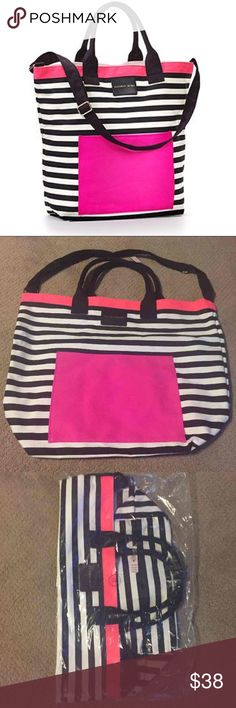 "Victoria's Secret 2016 Limited Edition Beach Tote Brand new with tags. Open top with pocket in front. Nice thick canvas that is lined inside for wet beach towels and bathing suits!   100% Canvas, 18.5"" L x 6.5"" W x 17"" H Victoria's Secret Bags Totes"