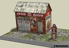 Speed Queen Gas Station Paper Model - by Papermau - Download Now! - == -  I get a lot of requests for models in 1/64 scale, which is the scale of the Hot Wheels miniatures. So I created this Speed Queen Gas Station, a little and easy-to-build paper model in only two sheets of paper. You can download this model easily, directly from Google Docs. Enjoy!
