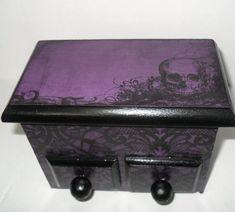 Gothic Trinket Box  Skull Decor  Gothic Home by NacreousAlchemy