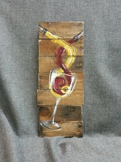 Red White Wine Pallet wall Art decor, reclaimed wood, Distressed wine glass, hand painted, gift  Original Acrylic painting on reclaimed