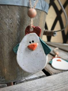 Your place to buy and sell all things handmade Ceramic Chicken, Chicken Crafts, Rooster Art, Clay Ornaments, Stoneware Clay, Hanging Art, Wooden Beads, Pottery Art, Christmas Decor