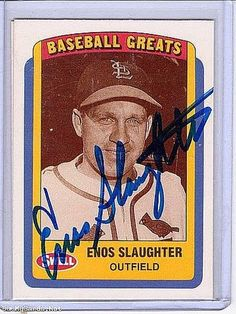 MLB ENOS SLAUGTER Hof Autographed Card From Mlb Event Mnt