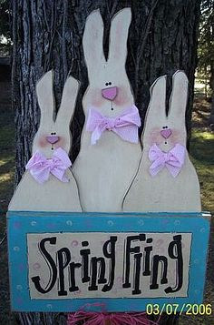 Conejitos de Pascua en madera - Wood Easter Bunnies