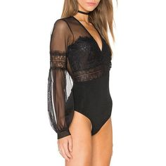 HDY Haoduoyi Lantern Sleeve Hollow Out Bodysuit Black Vintage Jumpsuits  Sheer Tulle Patchwork Playsuit. Body Dentelle NoirBody ... 90537ed541b