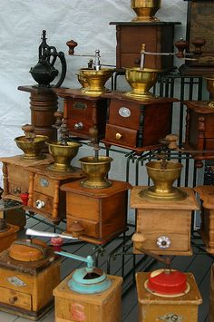 Vintage Coffee Grinders by julsatmidnight, via Flickr  --  The coffee only came as beans - it became the responsibility of someone to grand those beans before the coffee could be brewed...