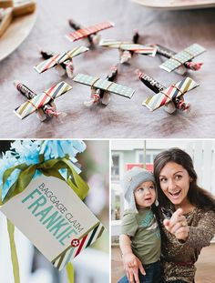 Love this vintage airplane party theme, and must make the candy airplanes with Will for fun.   Boy Scout idea?