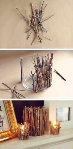 DIY twig candle holder, for that chalet feelDIY Twig Candle Holder- Very Pretty And Creative - SalvabraniThese DIY twig candle holders are absolutely adorable and can be used in almost any theme if you know how to play it up right. Rustic Candle Holders, Rustic Candles, Diy Candles, Lace Candles, Driftwood Candle Holders, Making Candles, Homemade Candles, Beeswax Candles, Home Crafts