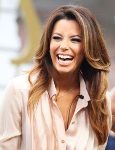 Eva Longoria's Long Balayage Layers #hair #celebrity