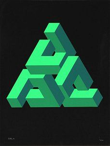 Complex shapes and colours forming into a triangle by Jose Maria Yturralde. Geometric Artwork, Geometric Designs, Geometric Shapes, Geometry Art, Sacred Geometry, Impossible Shapes, Impossible Square, Penrose Triangle, Arte Tribal