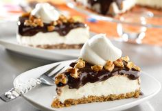 This dessert is sure to please...it's a chocolate chunk cookie crust filled with vanilla ice cream, hot fudge and toasted nuts.  Yum!