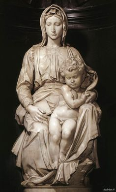 This is thee original sculpture done by Michelangelo, called Madonna of Bruges. This is made of marble and resides in Bruges, Belgium.