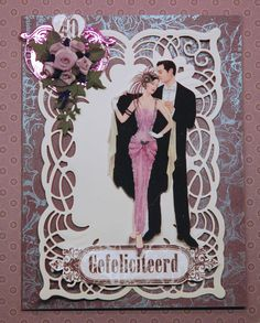 SPELLBINDERS 5X7 Cascading Grace DEBBI MOORE DESIGNS Hand Made Greeting Cards, Making Greeting Cards, Debbie Moore, Art Deco Cards, Dress Card, Spellbinders Cards, Art Deco Design, Wedding Anniversary, Wedding Cards