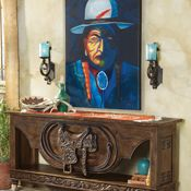Ranchero Saddle Console and Indian Painting from Crow's Nest Trading Co. http://www.crowsnesttrading.com/product/13599/6