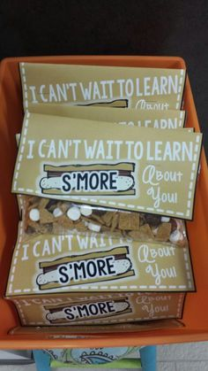 I can't wait to learn s'more about you! Meet the teacher night for camping theme!