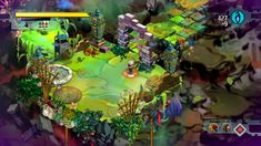 An isometric view of a floating, crumbling grass and stone ruin. The silver-haired protagonist is in the center, aiming a bow at an enemy.