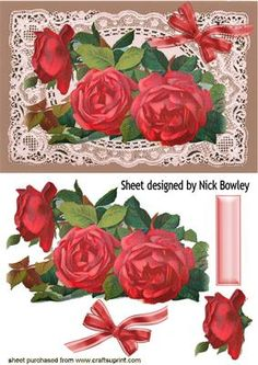 BEAUTIFUL RED ROSES ON VINTAGE LACE on Craftsuprint - Add To Basket!