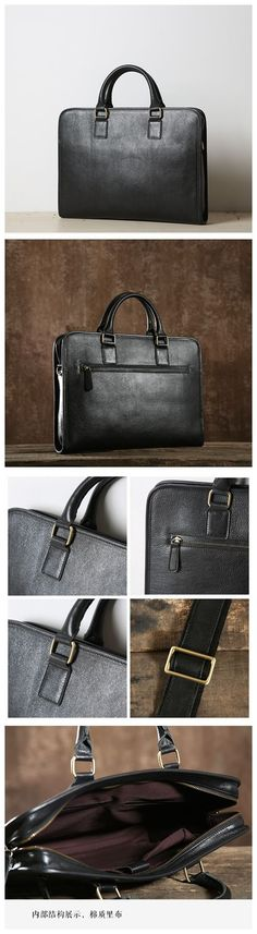 Black Leather Briefcase, Handmade Leather Bag, Business Bag GLT001