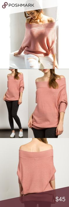 🆕JESSLYN off shoulder knit sweater - MAUVE Super soft and comfy ribbed knit sweater featuring a off-the-shoulder neckline and long sleeves. Can also be worn as a regular sweater or off just one shoulder.  Very versatile.  Blush  🚨🚨NO TRADE🚨🚨  🚨🚨PRICE FIRM🚨🚨 Bellanblue Tops