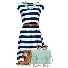 """Nautical stripe dress"" by bonnaroosky on Polyvore"
