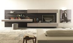 Great interior design without walls a contemporary Living Room Tv Unit Designs, Tv Wall Decor, Living Room Decor, Family Room, Furniture Design, House Design, Interior Design, Home Decor, Contemporary Design