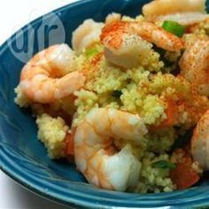 Cous cous in insalata con gamberi, peperoni e feta @ allrecipes.it