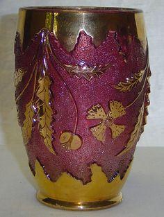 Antique EAPG US Glass Delaware Rose & Gold Celery Jar Vase