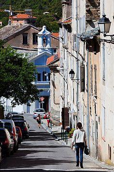 France, Corsica, Haute-Corse Department, Central Mountains Region, Corte, street…