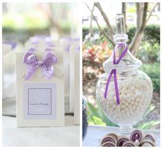 EAT DRINK PRETTY: A pretty purple and white dessert table candy bags, candi tabl, candies, buffet idea, candi buffet, birthday ideasthem, parti idea, candi bag, white candi