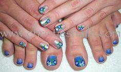 blue Hawaiian flowers.  Love flowers on summers toes.