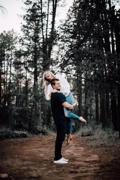 Fall/Winter Country/Outdoor Woodland/ Forestry Wedding Engagement Photo Ideas with Fun